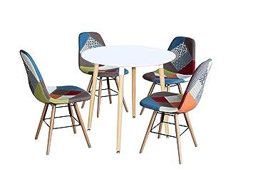 Mobilier Deco Ensemble Table Ronde Scandinave Laqué Blanc 4 Chaise Patchwork Scandinaves