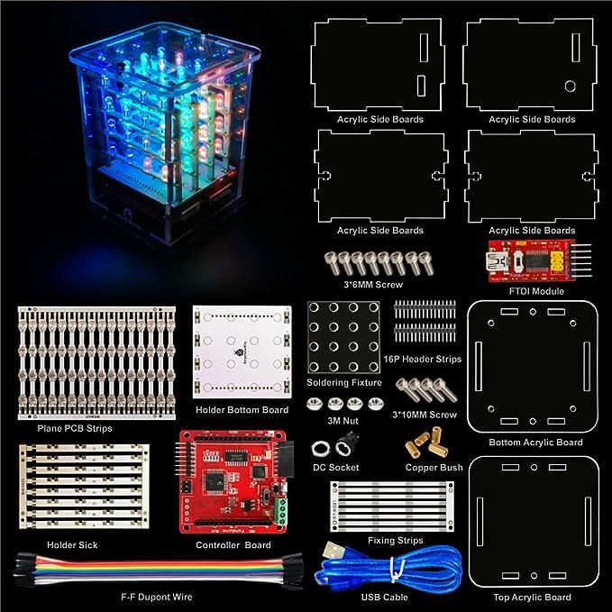4 opinioni per KEYESTUDIO Keyestidio 4 x 4 x 4 RGB LED Cube Kit con Tutorial Learing Kit di