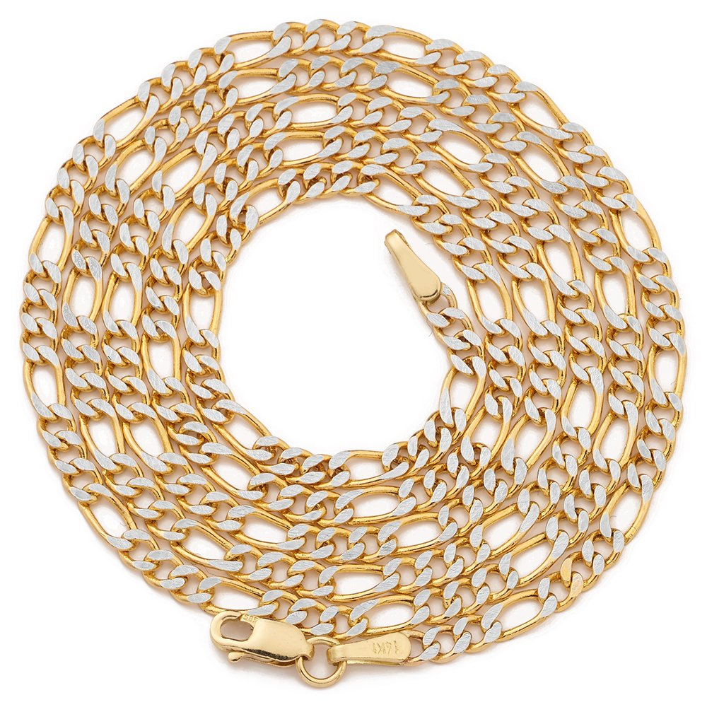 MR. BLING 14K Two Tone Gold 2.5mm 24'' Pave Hollow Figaro Chain Necklace with Lobster Lock