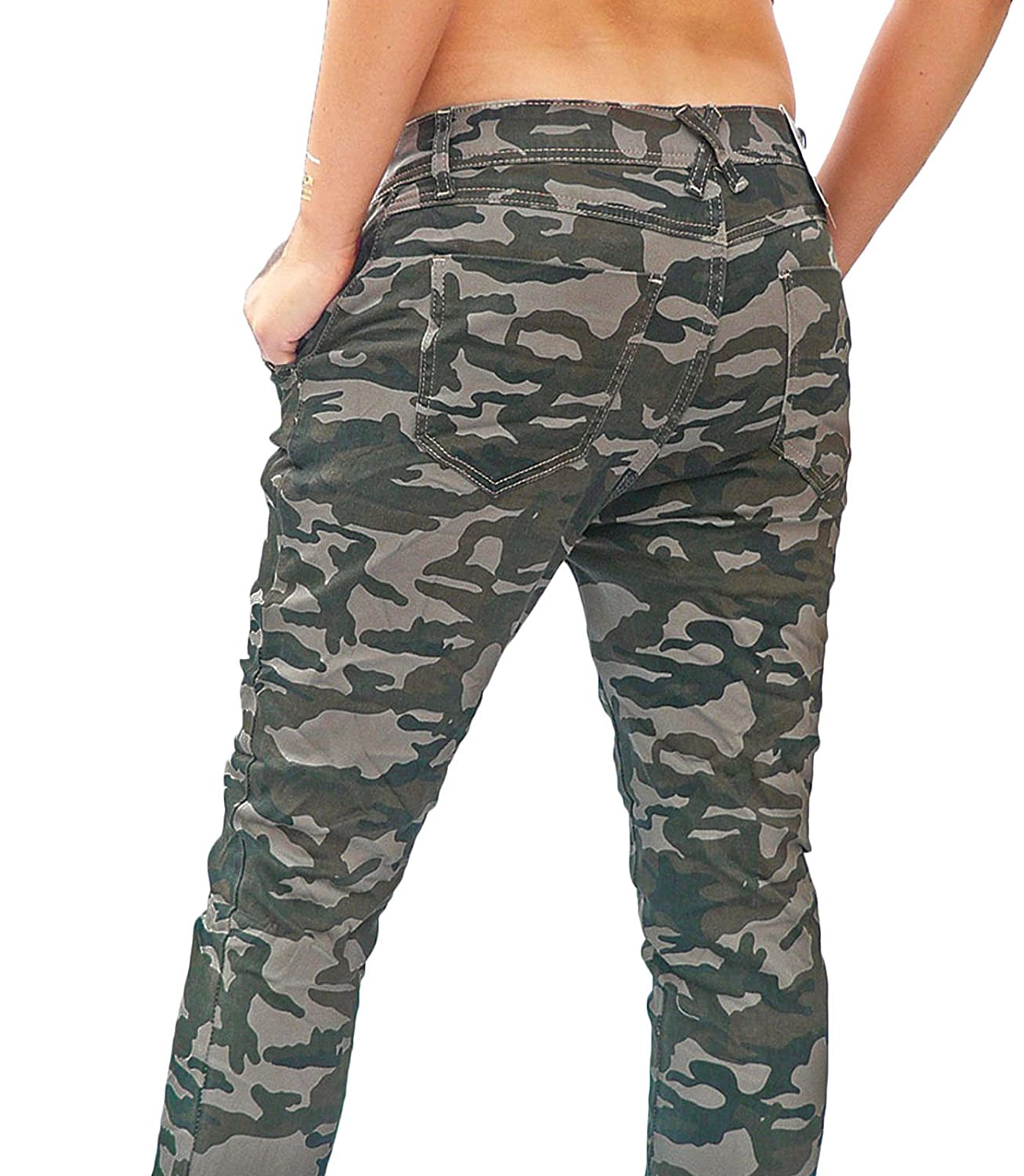 Damen Jeans Hose Chino Baggy Stretch Boyfriend Army Camouflage Military Hüfthose