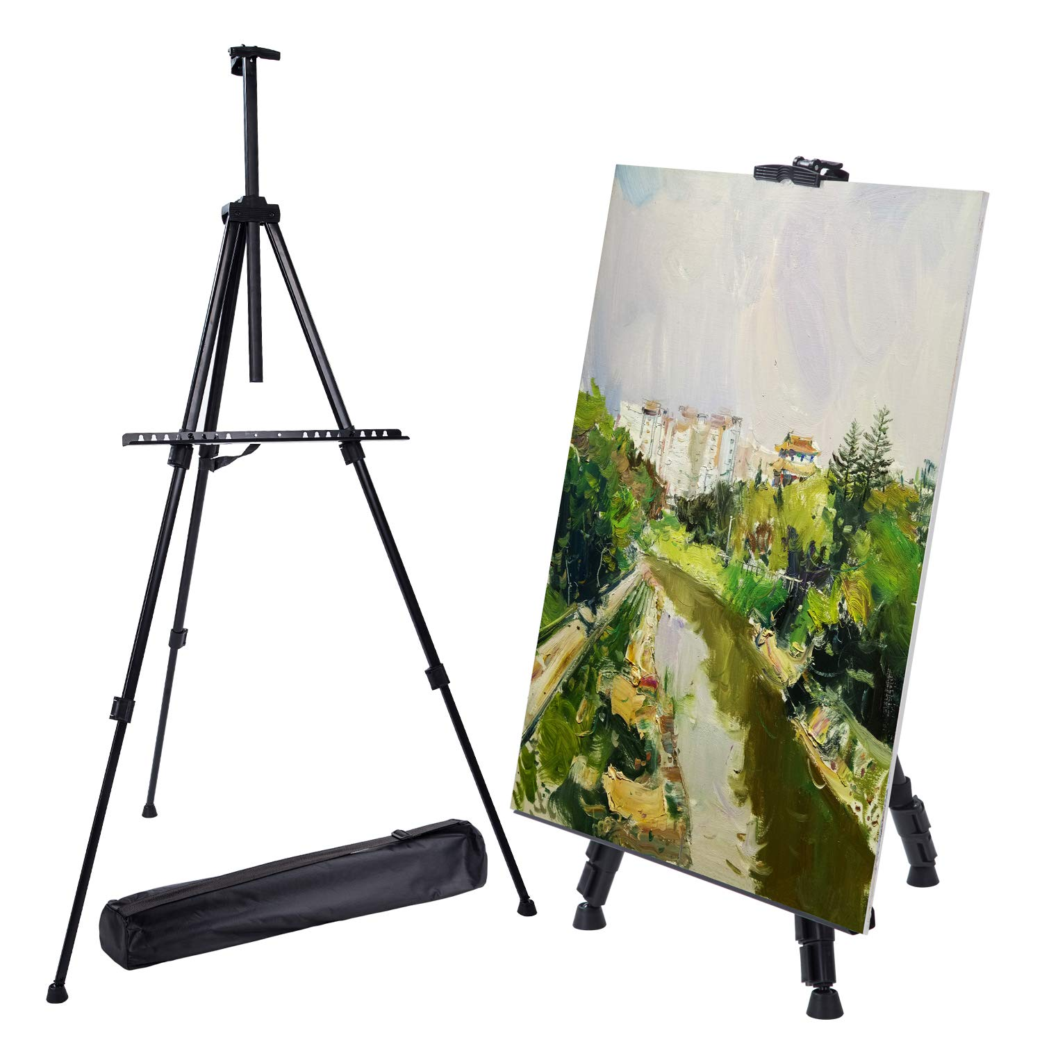 """Easel Stand, Metal Adjustable Display Tripod Floor Easel Extend from 20.5"""" to 67"""" with Portable Bag for Painting Poster Whiteboard in Wedding School Office Black"""