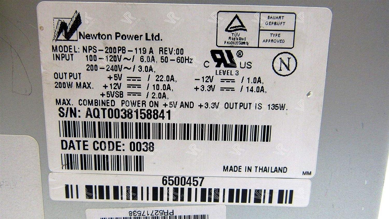 VRA Newton Power Desktop Supply 200W Model NPS-200PB-119 A 6500582 462434-001