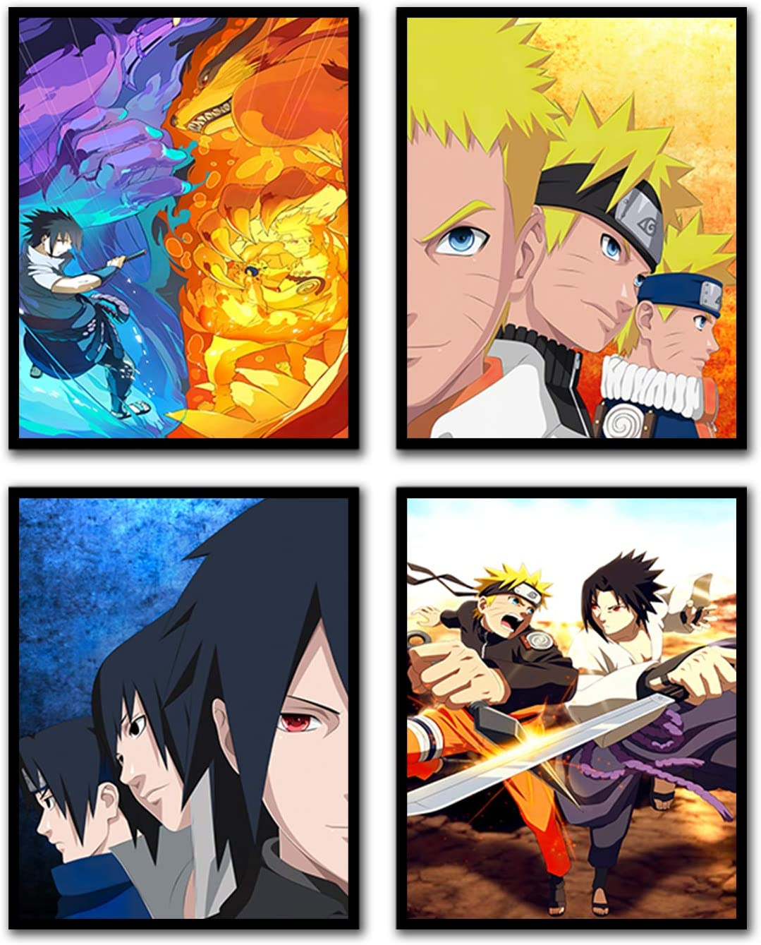 Japanese Manga Naruto Poster Sasuke Wall Pictures for Boys Room Decor 8 x 10 inches Set of 4 (No Frame)