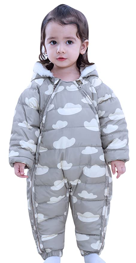 JiAmy Baby Winter Hooded Romper Cotton Snowsuit Warm Jumpsuit Outfits for 6-24 Months