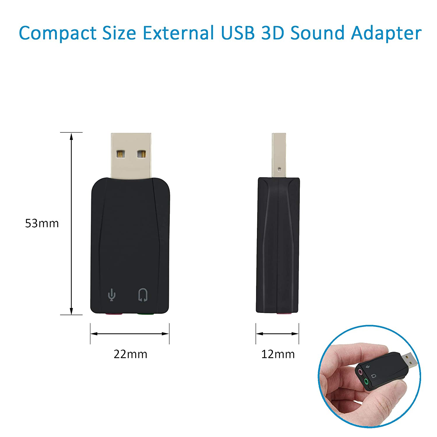 A ADWITS External USB 3D Stereo Audio Adapter with 3.5mm Speaker Headphone and Microphone Jacks Driverless USB Sound Card for Windows Mac Linux Black
