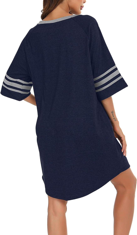 MiiKARE Damen Nachthemd mit halben /Ärmeln und Knopfleiste Nachtw/äsche mit V-Ausschnitt Boyfriend Schlafhemd,Stillen Pyjamakleid Die Gr/ö/ße ist zu gro/ß,es Wird empfohlen,eine kleinere Gr/ö/ße zu nehmen