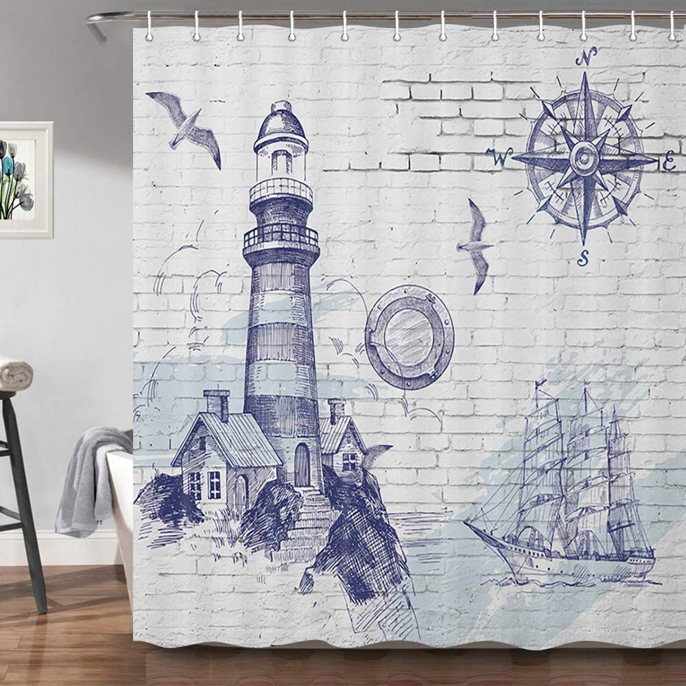 JAWO Lighthouse Shower Curtain for Bathroom, Sail Boat Nautical Compass Print On Brick Wall, Cloth Fabric Bathroom Decor Curtains with Hooks Set, 69 X 70 Inch