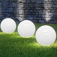 Lampe LED boule solaire blanc-opale - Ø 30cm - 4 LED lumineuses jardin balcon