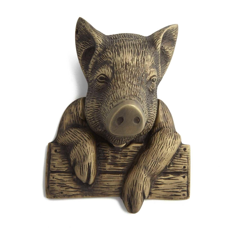 Casa Hardware Brass Pig Door Knocker - Antique Brass