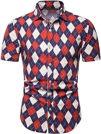 GRMO - Camisa de Verano a Cuadros, Manga Corta, Ajustada, con Botones, Talla Grande, para Hombre: Amazon.es: Ropa y accesorios