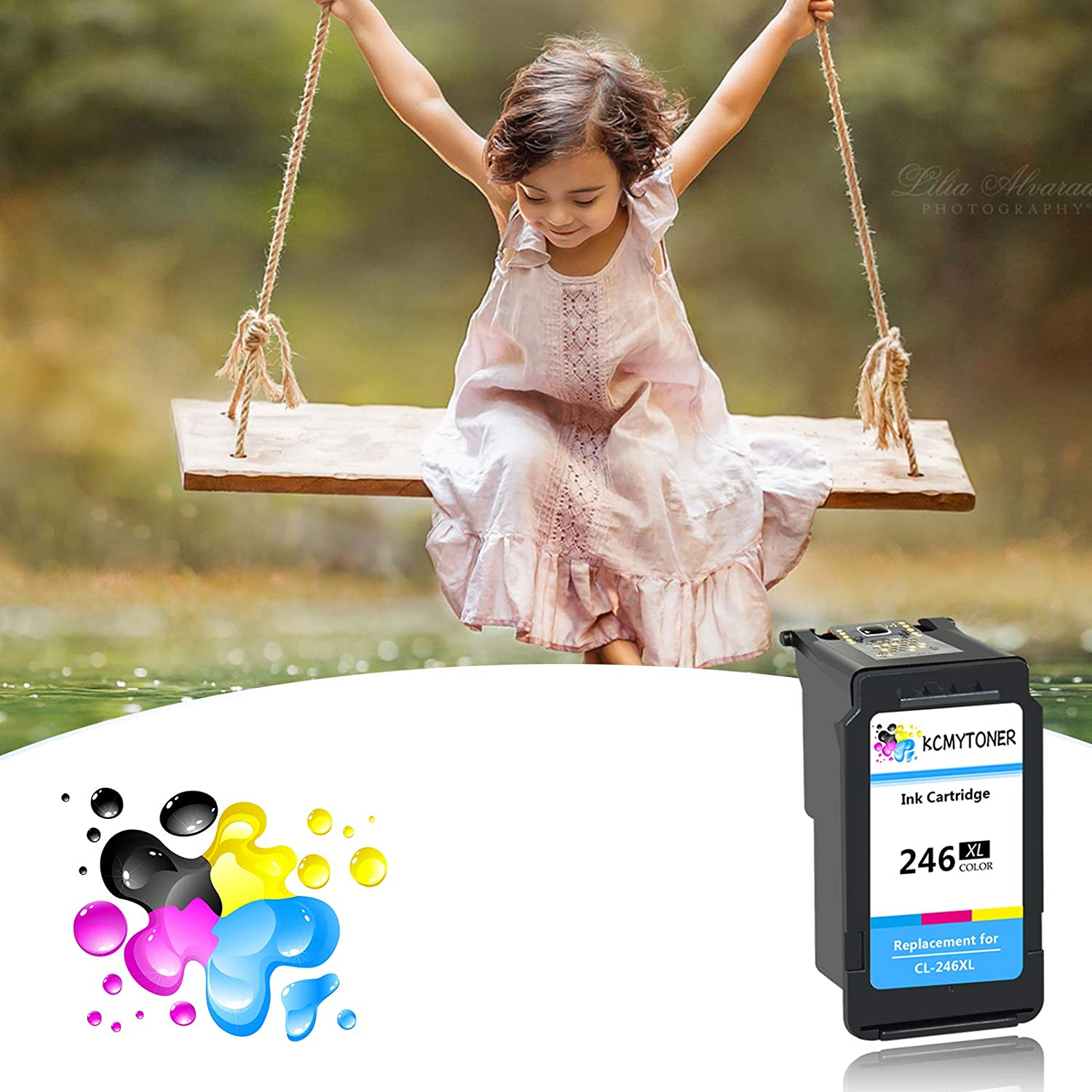 KCYMTONER Remanufactured Ink Cartridge High Yield Compatible for Canon CL-246XL CL 246 246XL 246 XL PIXMA MG2520 MG2920 MG2922 MG2420 MG2522 MG3022 MG2555 IP2820 TS302 TR4520 Tri-Color, 5 Pack