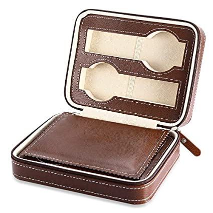 HKHJ Cajas para Relojes de Piel Estuche para Joyas de Cremallera con 4 Compartimientos Caja de