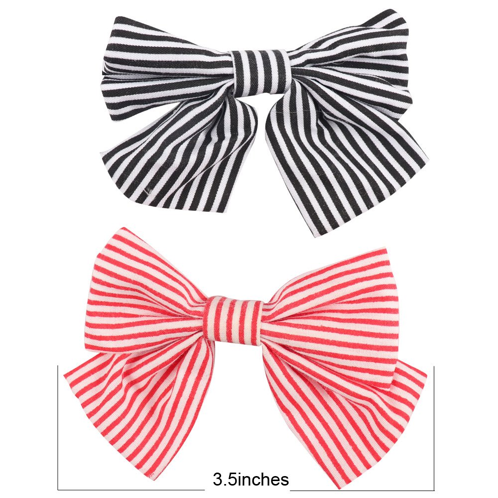 Oaoleer 10pcs 3.5'' Fabric Ribbon Hair Bows with Clips for Baby Toddler Girls Teens by Oaoleer (Image #2)