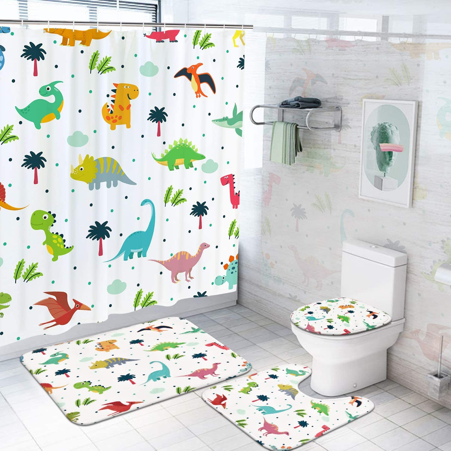 4Pcs Cartoon Dinosaurs Shower Curtain Set with Non-Slip Rugs Toilet Lid Cover and Bath Mat Colorful Cute Dinosaurs Bath Curtain with 12 Hooks Durable Waterproof Fabric Shower Curtain for Kids