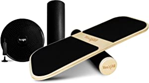 Yes4All 3-in-1 Multifunctional Balance Board/Balance Board Trainer/Simply Fit Board with 3 Interchangeable Bases (Rocker, Air Cushion, Roller) – Hand Pump Included (FQHB)
