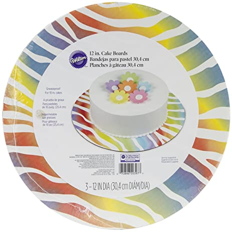 Wilton 2104-0397 Cake Board Rainbow Zebra, 3-Pack
