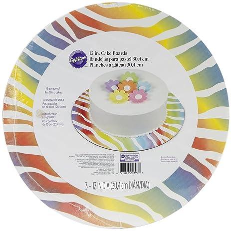 Wilton 2104-0397 Cake Board Rainbow Zebra, 3-Pack