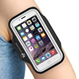 "Armband for iPhone 8/ 7/ 6/ 6S/ SE/ 5/ 5C/ 5S, and Galaxy S8/ 7/ 6, Google Pixel, by Wanshine, Water Resistant Sport Exercise Running Pouch Key Holder fit phone diagonal size up to 5.85""- Hiking,Bikin"