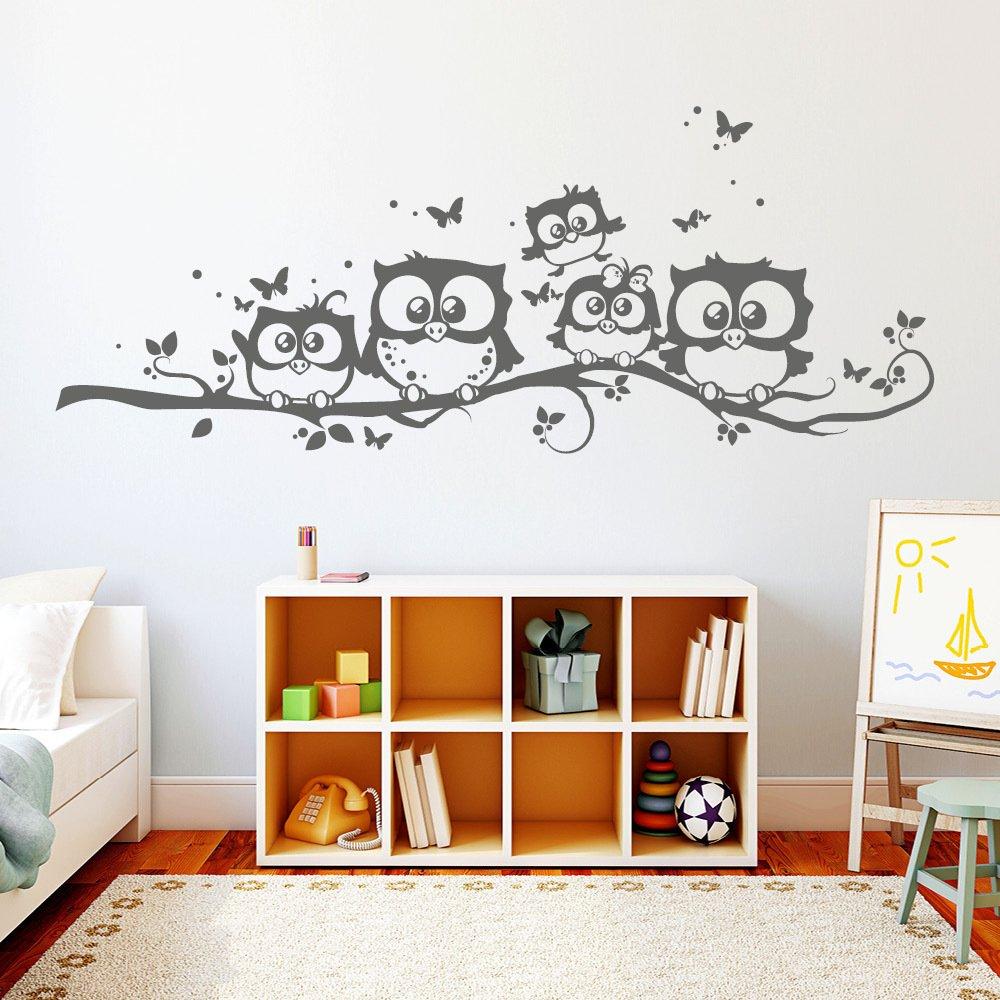"""Wandtattoo-Loft """"Fünf niedliche Eulen auf Einem AST AST AST mit Schmetterlingen  - Wandtattoo   49 Farben   4 Größen beige   55 x 139 cm B00TYH783C Wandtattoos & Wandbilder f47c4b"""