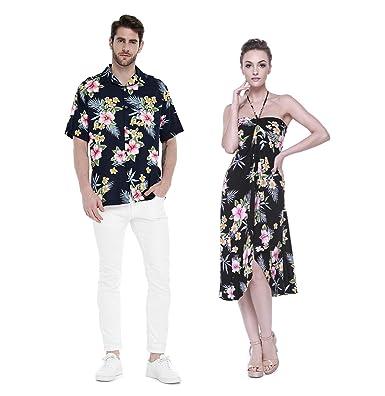 13d8368dd7fb Couple Matching Hawaiian Luau Cruise Party Outfit Shirt Dress in Hibiscus  Black Men 2XL Women S