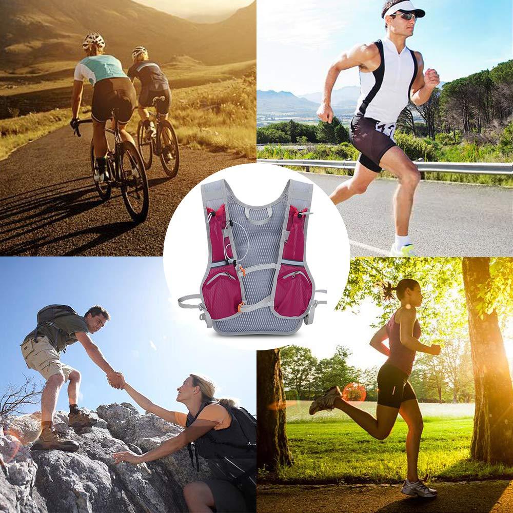 Zainetto Running Leggero Donna Uomo Zaino con Sacca Idrica per Corsa MTB Ciclismo Maratona Trekking Trail Zaino Acqua 6L Unisex Adulto Zaino Idratazione con Vescica 2L
