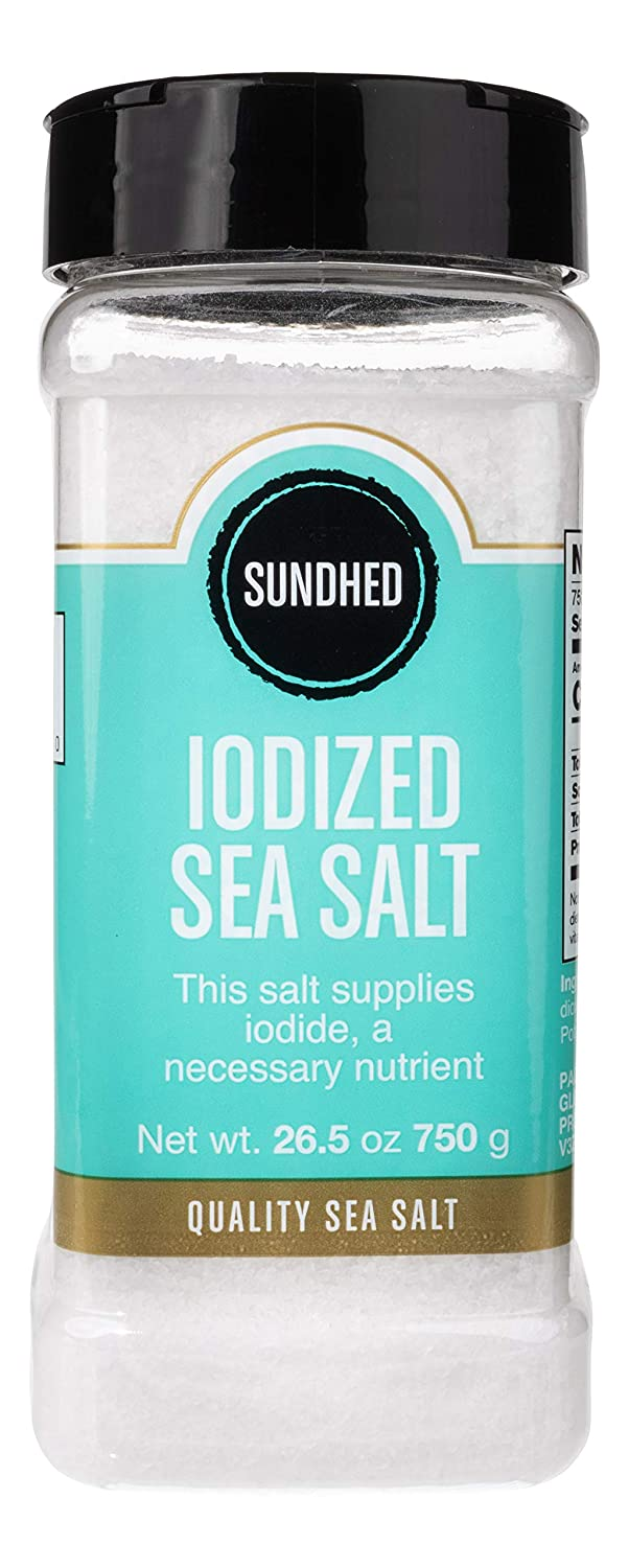 Sundhed Sea Salt (Fine) in Refill | 750 Grams (26.45 oz) | Gourmet Seasoning Salt | Real and Natural Iodized Salt | Keto Friendly and Kosher Certified