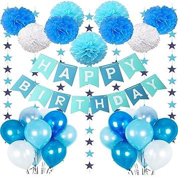 MMTX Geburtstagsdeko Junge 1 Jahr Geburtstag Deko Ballon Mit Happy Birthday Girlande Blau