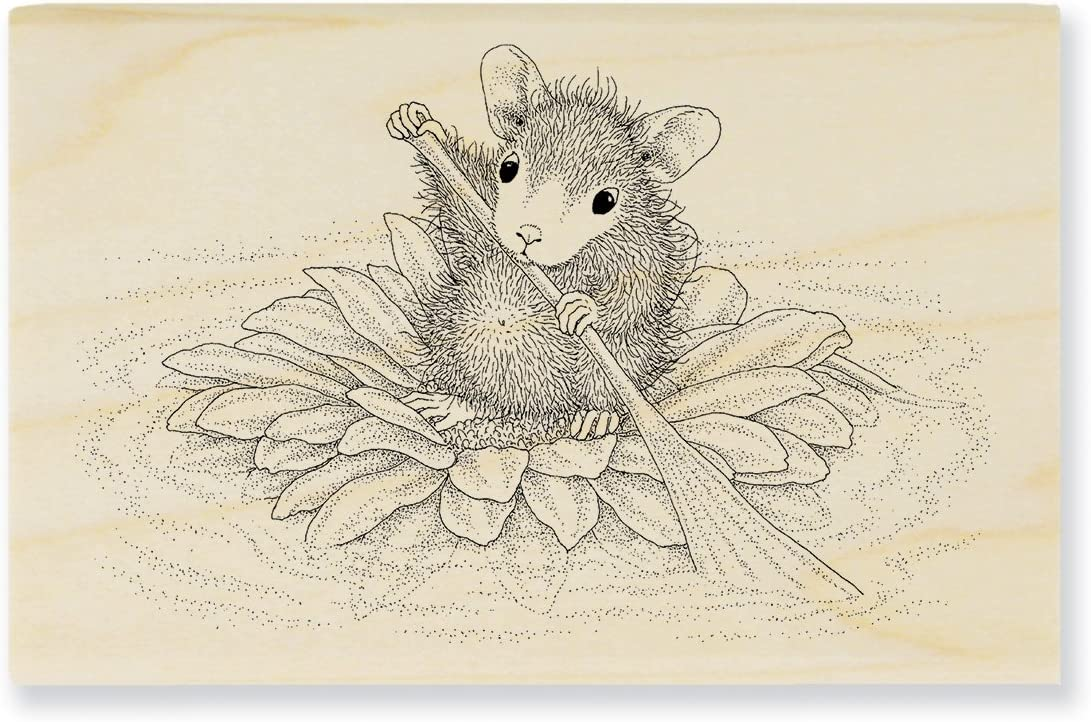 STAMPENDOUS House Mouse Wood Rubber Stamp Lucky Clover