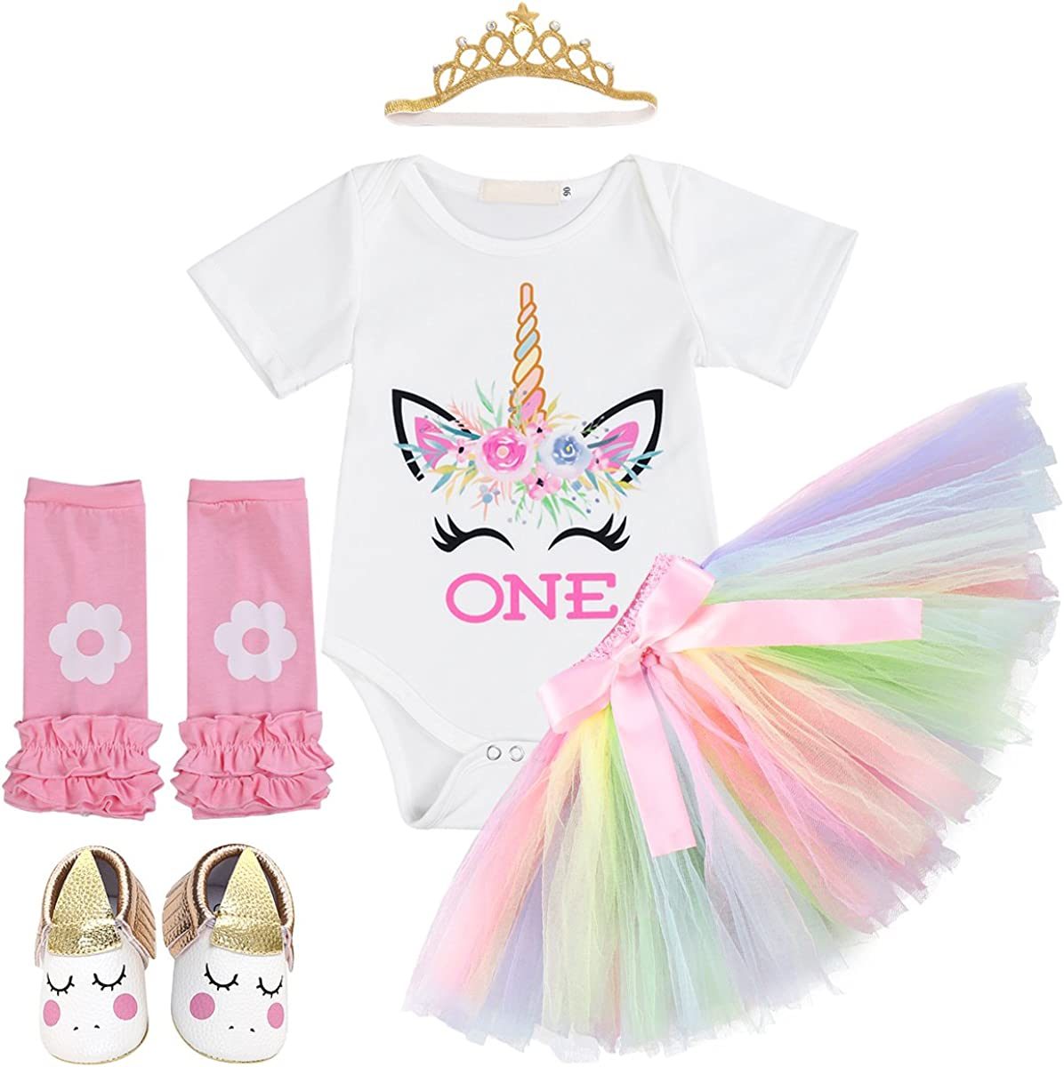 FYMNSI Unicorn Princess Baby Girls 1st Birthday Cake Smash Floral Romper Skirt with Unicorn Headband 3PCS Outfits