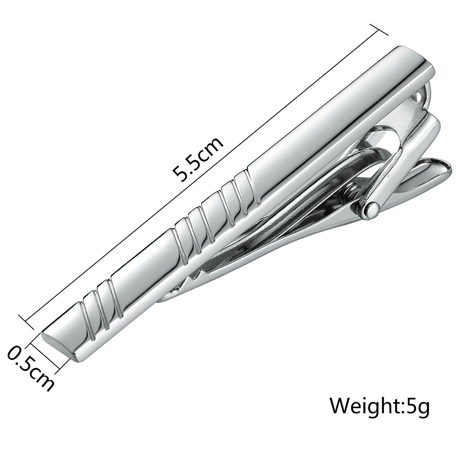 KnSam Stainless Steel Tie Clips for Mens Rectangle Slash Silver
