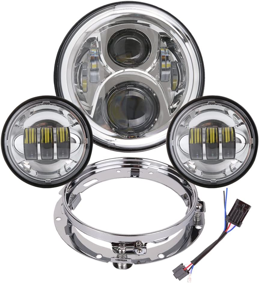 """4.5/"""" Passing Lights For Harley Heritage Softail Classic FLSTC 7/"""" LED Headlight"""