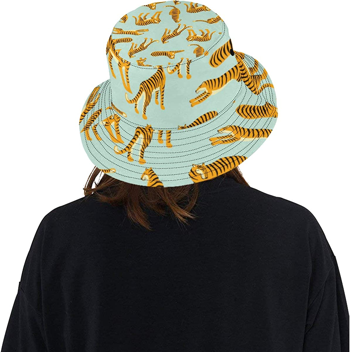 Tiger Leopard Pattern Fashion Accessary Summer Unisex Fishing Sun Top Bucket Hats for Kid Teens Women and Men with Packable Fisherman Cap for Outdoor Baseball Sport Picnic