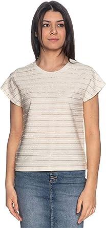 Only Millie 15199160 - Camiseta para mujer, cuello redondo con hilo de lúrex, color beige beige L: Amazon.es: Ropa y accesorios