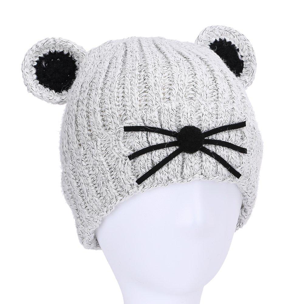 Kids Baby Toddler Knit Ear Beanie Winter Hat Girls Boys Crochet Cap Unisex (Gray)