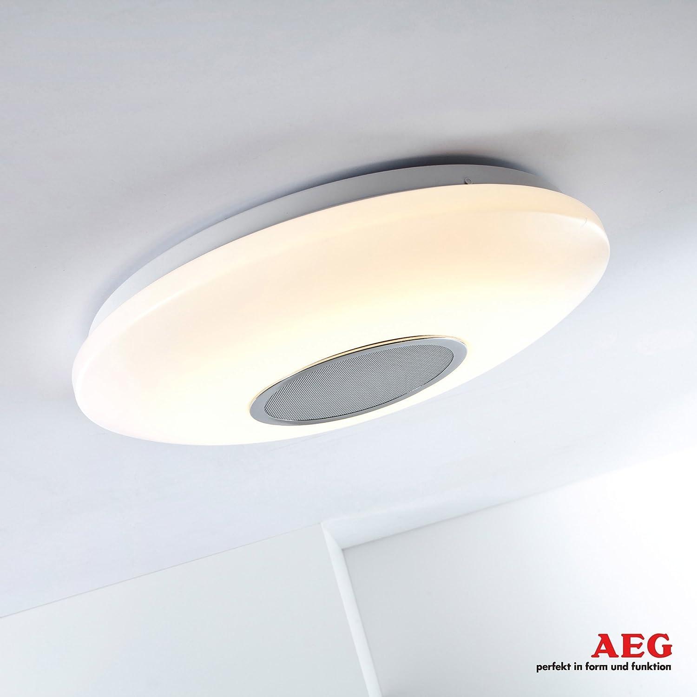 Lámpara LED de techo, con Altavoz con Bluetooth para escuchar música, intensidad regulable, diámetro de 38 cm, 25 W bombilla LED, 1800 lumens, ...