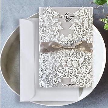 Kartenzia Lasergeschnittene Hochzeitseinladung Vintage Set 10 Stück Diy Einladungskarten Hochzeit Geburtstag Taufe Mit Umschlag Zum Selber Drucken