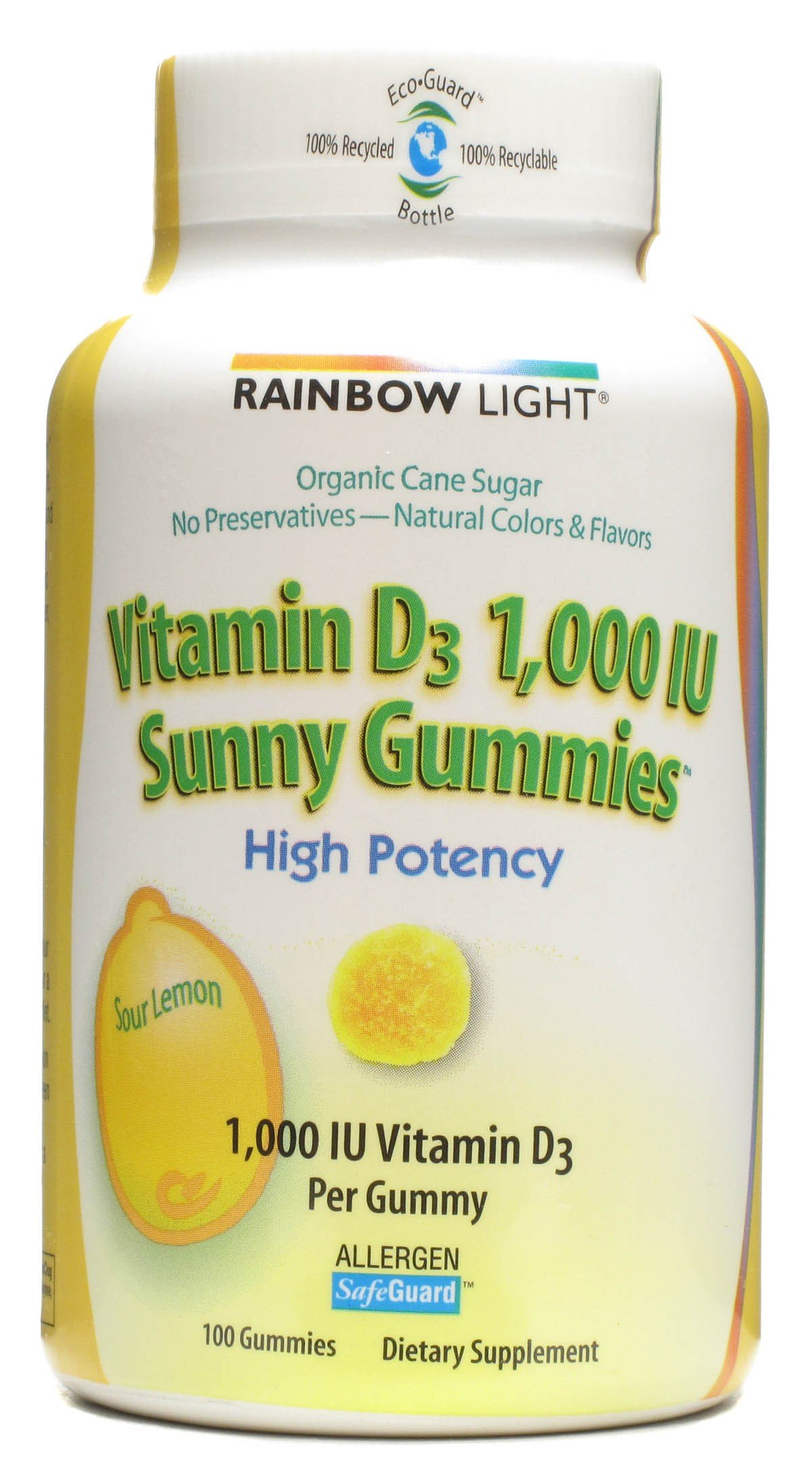Rainbow Light - Vitamin D Sunny Gummies Sour Lemon 1000 IU - 100 Gummies ( Multi-Pack)