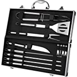 BBQ Grill Tools with Carrying Case - Stainless Steel Tools - Complete Barbeque Kit - with Tongs, Spatula, Fork, Knife, Corn Holders, Skewers - 12 Piece Set