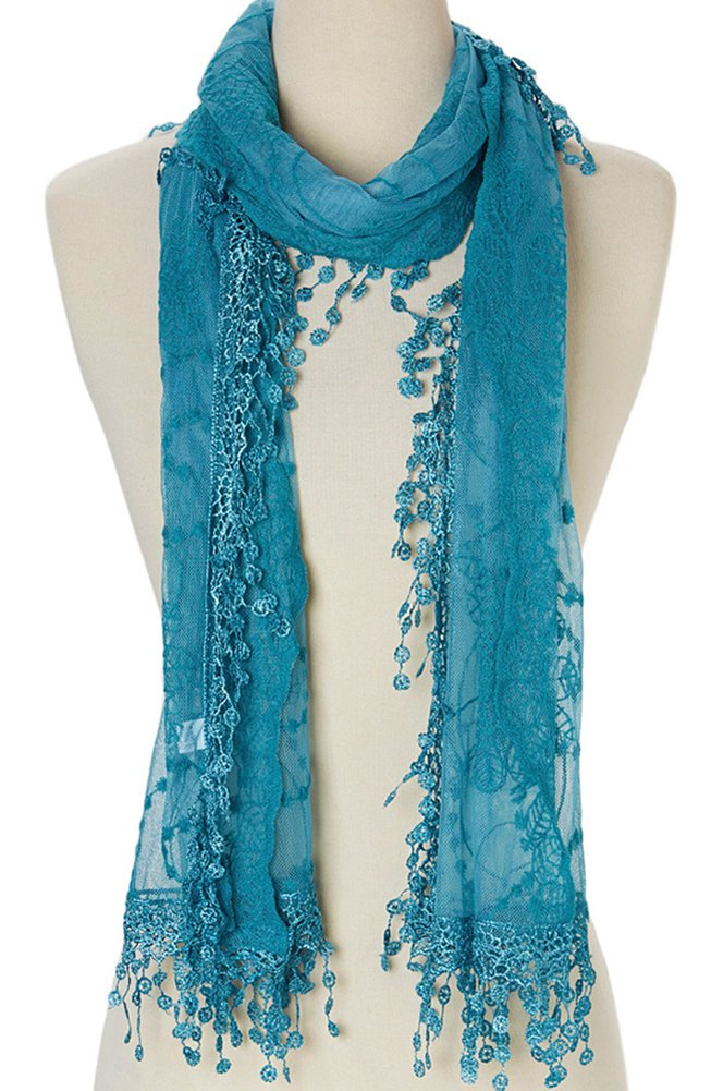 Cindy and Wendy Lightweight Soft Leaf Lace Fringes Scarf shawl for Women (Blue)