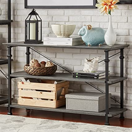 Amazon Com Tribecca Home Myra Vintage Industrial Tv Stand Grey Wood