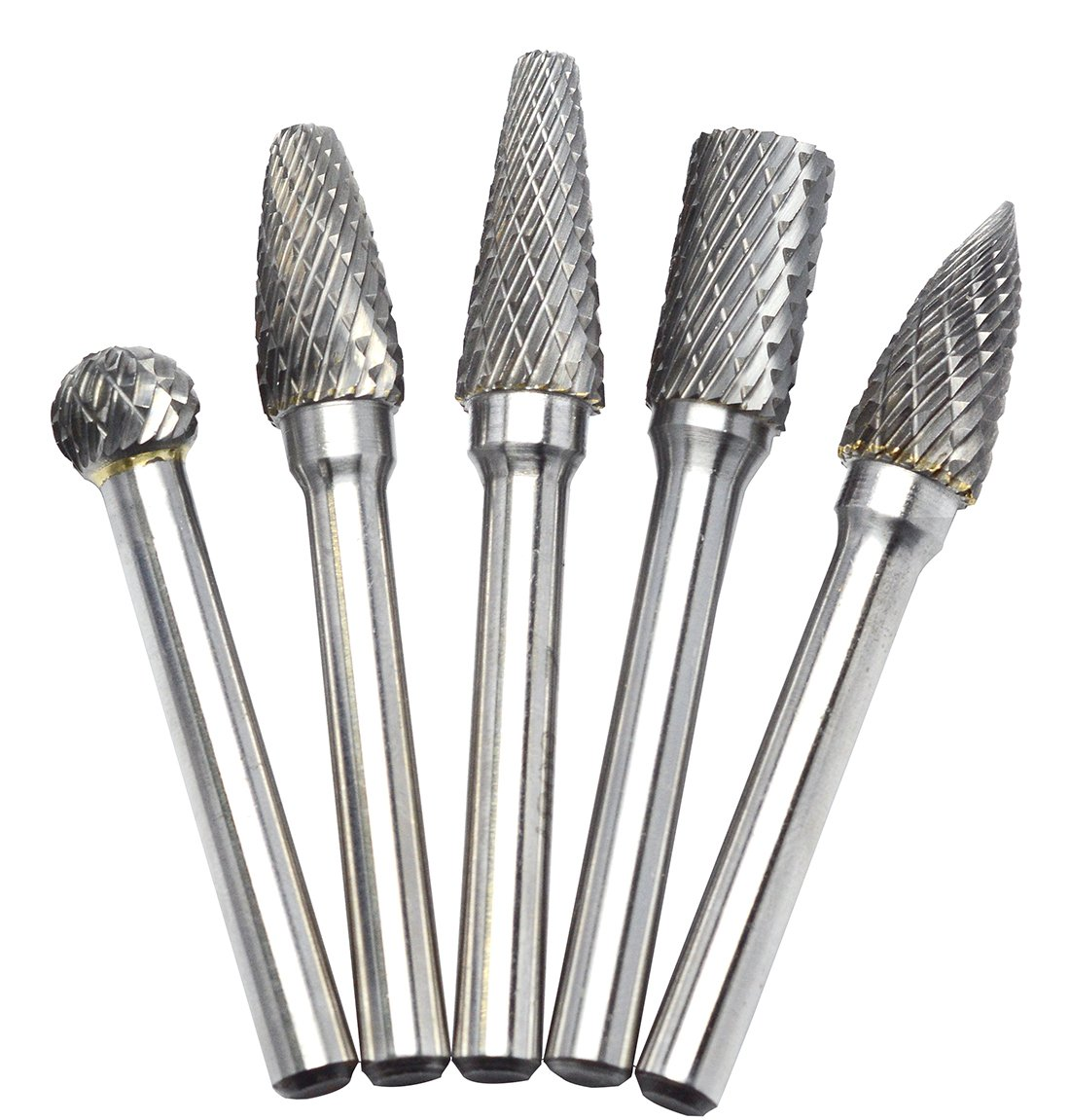 5Pcs Head Tungsten Carbide Rotary Burr Die Grinder Bit Shank Carving Set 6mm