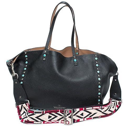 960b53ba2c Valentino Guitar-Strap Rockstud Medium Reversible Leather Tote Black New Bag:  Amazon.ca: Shoes & Handbags