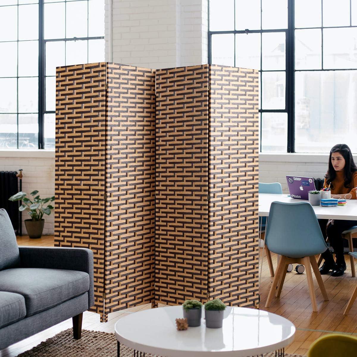 6ft Tall Room Divider 4-Panel Weave Fiber Folding Freestanding Privacy Screen for Living Room Bedroom (Light Brown)