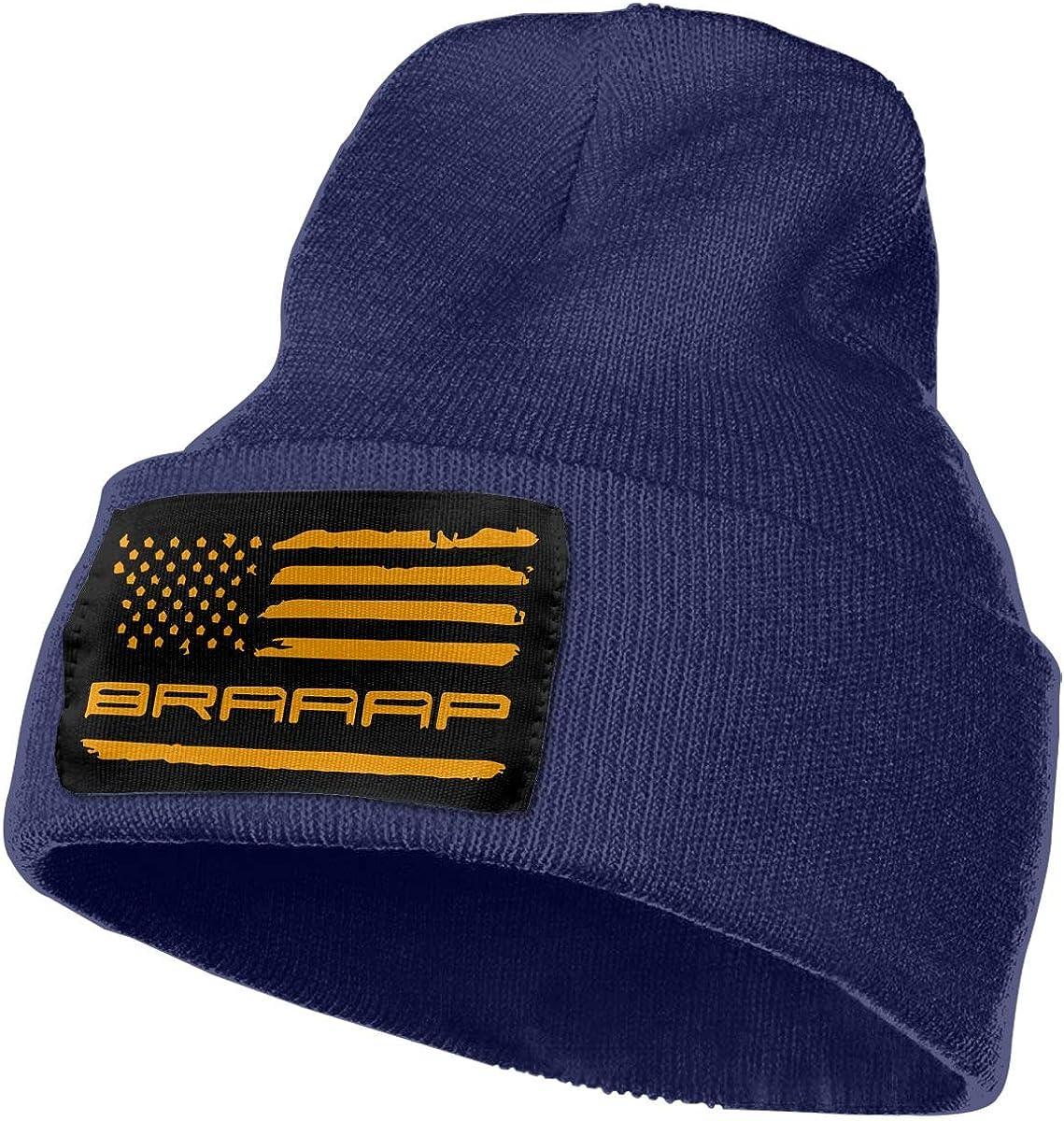COLLJL-8 Unisex Braaap Motocross Dirt Bike American Flag Outdoor Warm Knit Beanies Hat Soft Winter Knit Caps
