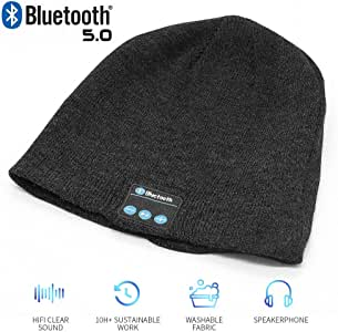 Bluetooth Beanie Hat,Wireless V5.0 Superior Music Skully Beanie Hat Washable Knitted Cap with Headphone Headset Earphone Mic Audio Hands-Free Calling for Running Excrise Gym Sports Fitness-Black