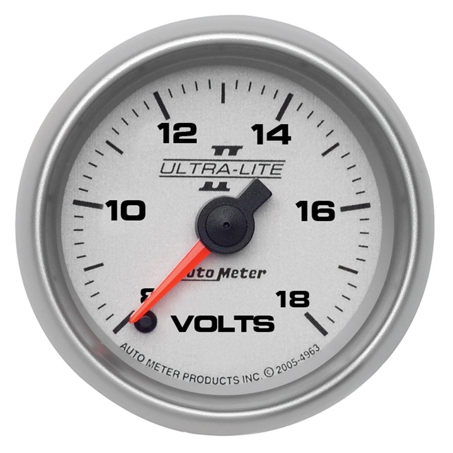 Auto Meter 4991 Ultra-Lite II 2-1/16'' 8-18V Full Sweep Electric Voltmeter