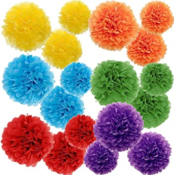 Paper Pom Pom 10 Inch 8 Inch 6 Colors of 12 Inch 18 Pcs Colored Tissue Paper Pom Pom Flower Ball Decoration