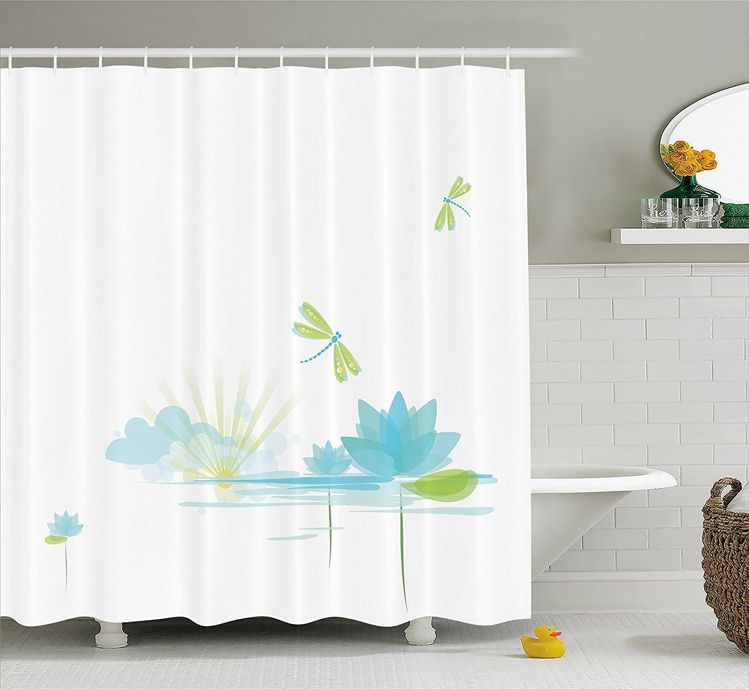 KRISTI MCCARTNEY Dragonfly Shower Curtain by, Waterlily and Dragonfly Nature Background Clouds Lake Sun Design, Fabric Bathroom Decor Set with Hooks, 84 Inches Extra Long, Apple Green Light Blue