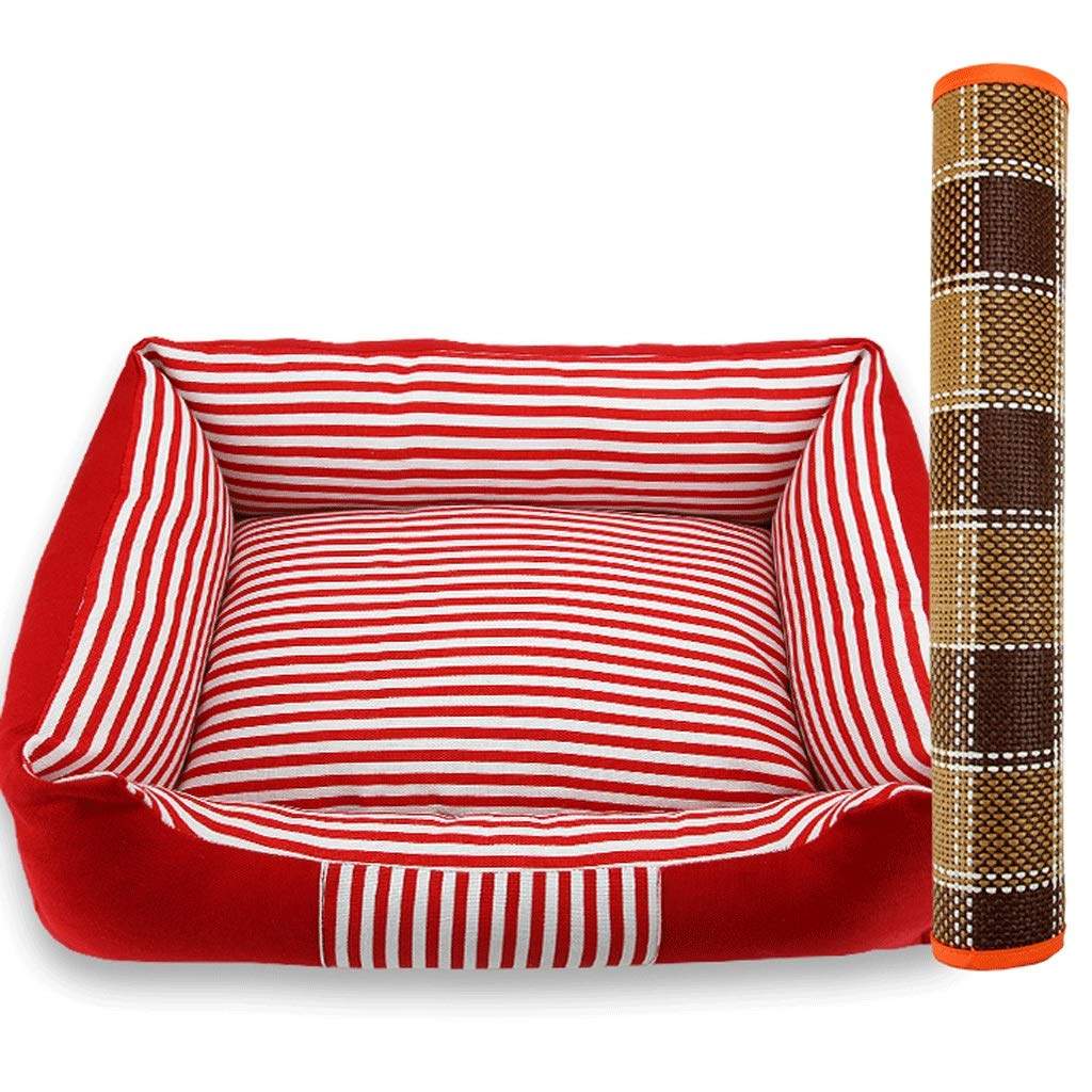 Red+mat L88x70x13cm Red+mat L88x70x13cm Pet Bed Medium and Large Dogs General Kennel Stripes Four Seasons Universal Removable Wash Mat Combination Pet Nest A+ (color   Red+mat, Size   L88x70x13cm)