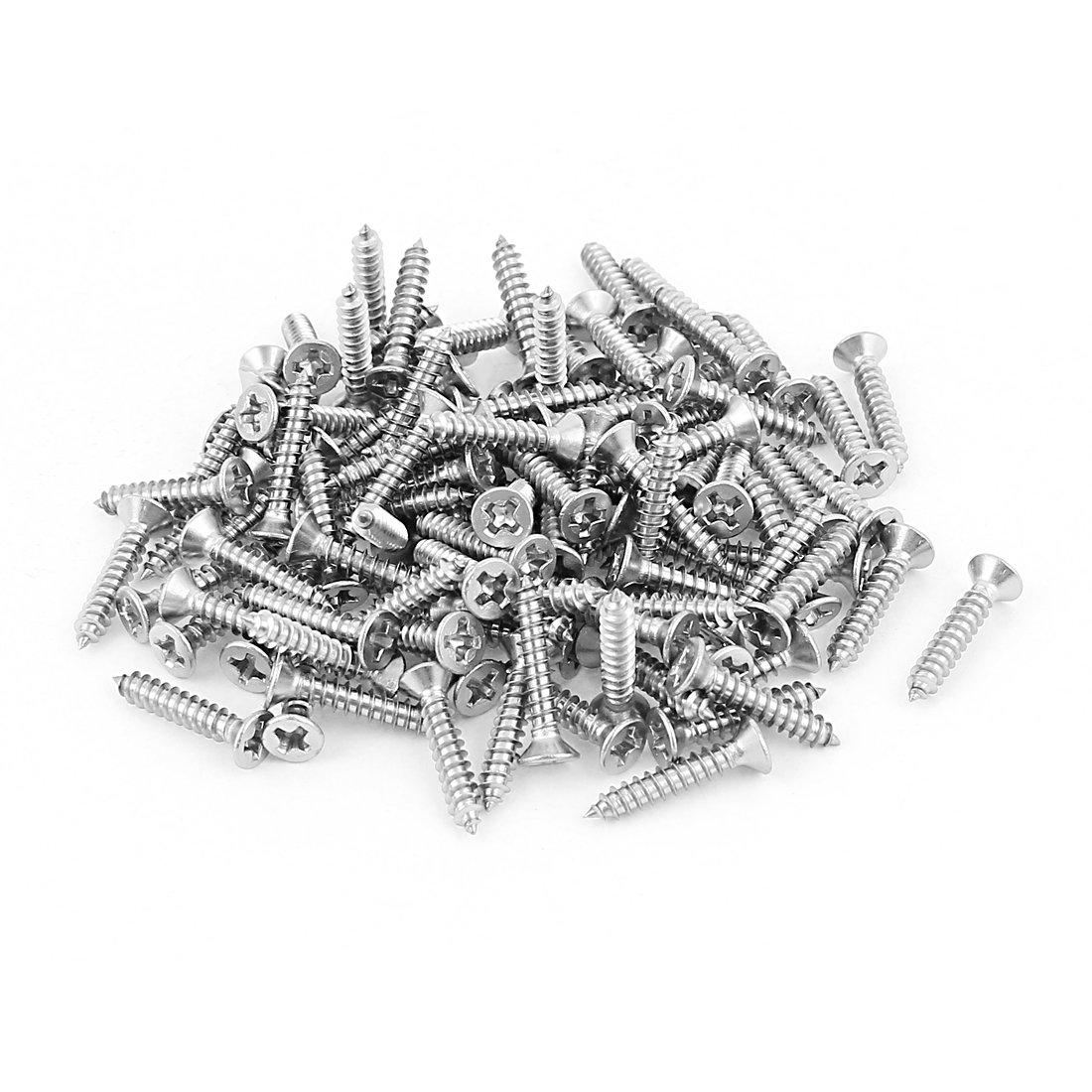 M 3 x 16 mm Phillips cabeza plana de acero inoxidable tornillos rosca chapa 100 piezas Sourcingmap a15062900ux0077